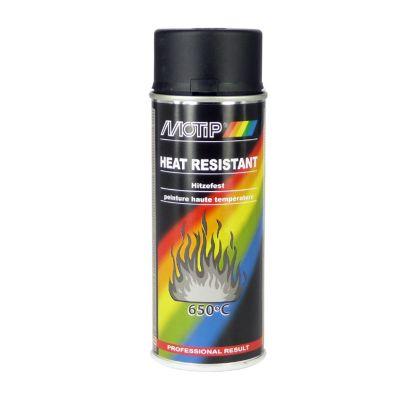 Bombe peinture noir haute-température 800°C Motip 400ml