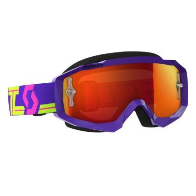 Masque cross Scott Hustle MX violet/jaune – écran chrome orange