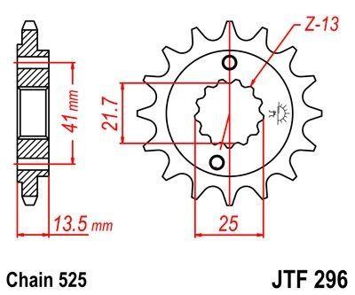 Pignon JT Sprockets Acier pas 525 15 dents - Pour Honda XL 650 V Transalp 01-07