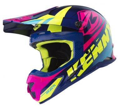 Casque cross Kenny Track bleu/rose