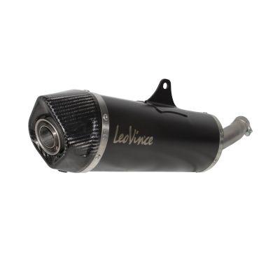 Silencieux Leovince Nero inox noir casquette carbone pour Piaggio MP3 500 11-16