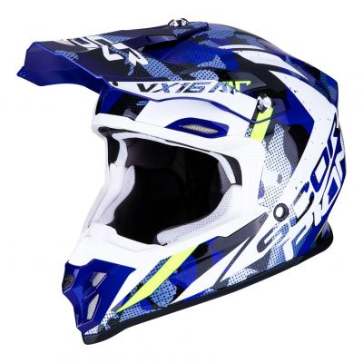 Casque cross Scorpion VX-16 Air Waka noir/blanc/bleu