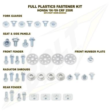 Kit visserie complet de plastiques Bolt pour Honda CRF 250 R 06-09