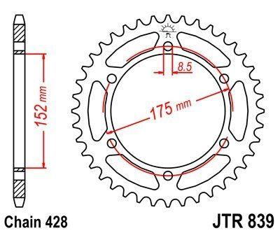 Couronne JT Sprockets Acier pas 428 53 dents - Pour Yamaha WR 125 R 09-15