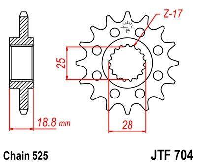 Pignon JT Sprockets Acier pas 525 15 dents - Pour BMW F800 GS 08-16