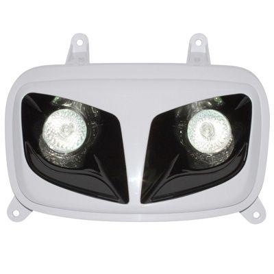 Double optique Replay RR8 blanc/noir avec 2 halogènes 20w pour Booster/BW's 2004>