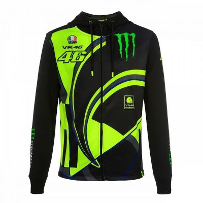 Sweat zippé à capuche VR46 Valentino Rossi Replica Monster Dual noir/jaune 2019