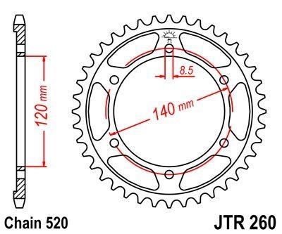 Couronne JT Sprockets Acier pas 520 38 dents - Pour Honda XL 250 R 84-87