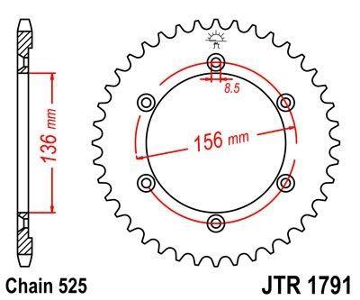 Couronne JT Sprockets Acier pas 525 43 dents - Pour Suzuki XF 650 Freewind 97-02