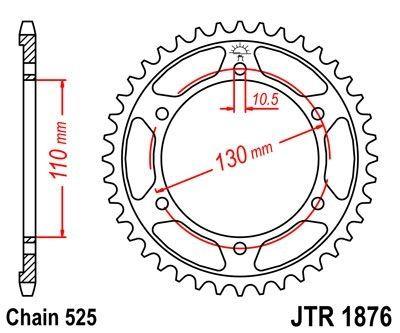 Couronne JT Sprockets Acier pas 525 43 dents - Pour Yamaha MT-07 14-16
