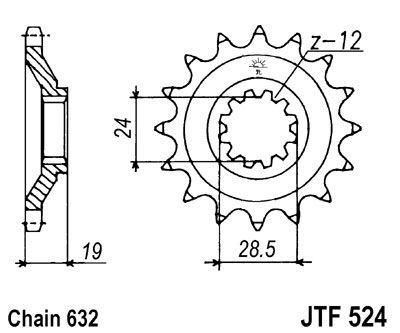 Pignon JT Sprockets Acier pas 632 15 dents - Pour Kawasaki GPZ 1100 RX 86-89