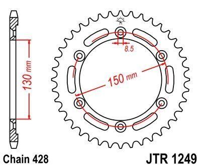 Couronne JT Sprockets Acier pas 428 51 dents - Pour Honda XLR 125 98-02