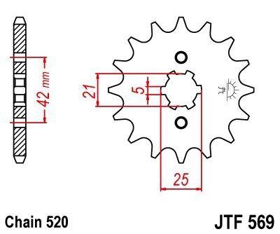 Pignon JT Sprockets Acier pas 520 14 dents - Pour Yamaha YZ 250 77-81