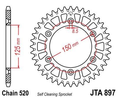 Couronne JT Sprockets Aluminium pas 520 40 dents - Pour KTM Duke 690 08-17