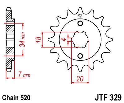 Pignon JT Sprockets Acier pas 520 14 dents - Pour Honda CA 125 Rebel 95-00