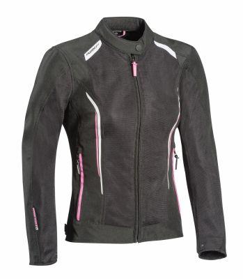 Blouson textile femme Ixon Cool Air Lady noir/blanc/rose