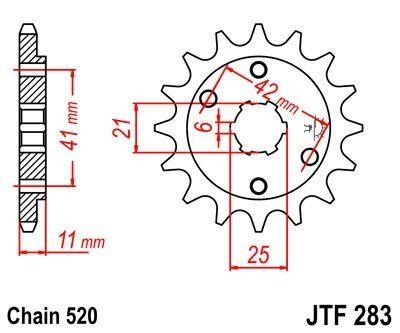 Pignon JT Sprockets Acier pas 520 14 dents - Pour Honda VT 250 F 83-88