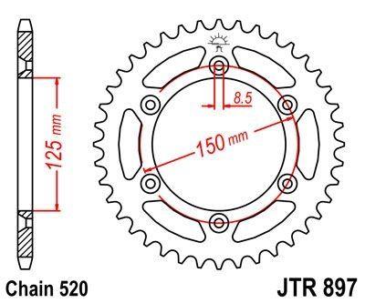Couronne JT Sprockets Acier pas 520 40 dents - Pour KTM 250 EXC 05-11
