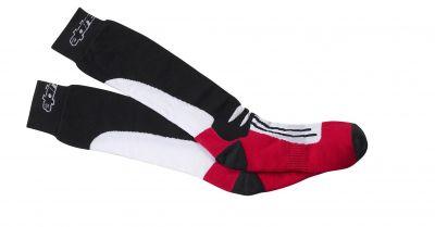 Chaussettes Alpinestars racing ROAD longues noir/rouge