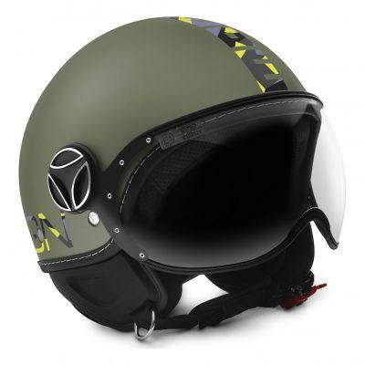Casque jet Momo Design FGTR Baby vert militaire pour enfant