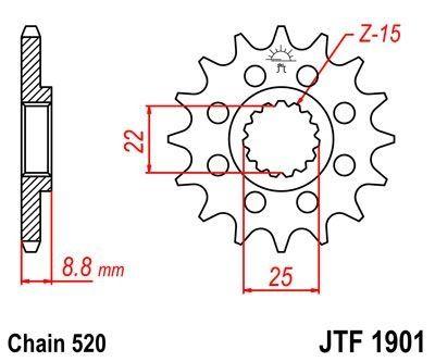 Pignon JT Sprockets Acier pas 520 13 dents - Pour KTM SX-F 450 16-17 Anti-boue