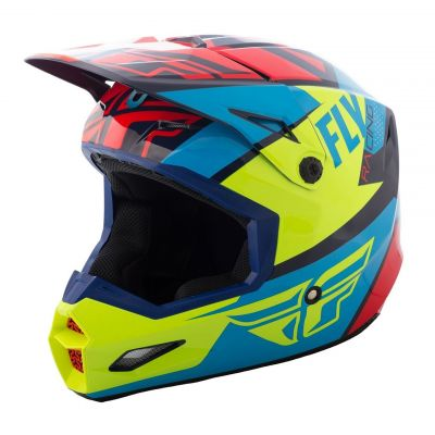 Casque cross Fly Racing Elite Guild rouge/bleu/jaune fluo