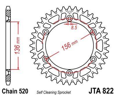 Couronne JT Sprockets Aluminium pas 520 49 dents - Pour Husqvarna 125 SMS 00-12