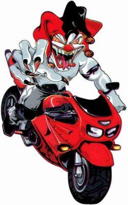 Autocollant Jocker en Moto  9.7 x 7.8 cm