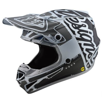 Casque cross Troy Lee Designs SE4 Polyacrylite Factory Mat silver