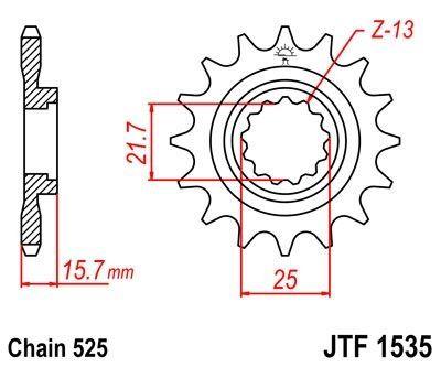 Pignon JT Sprockets Acier pas 525 15 dents - Pour Kawasaki ZX-6R 98-02