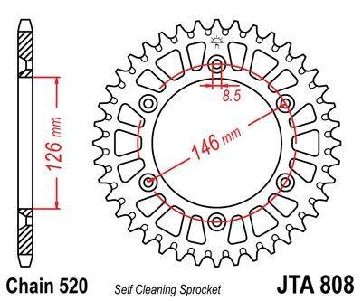 Couronne JT Sprockets Aluminium pas 520 43 dents - Pour Suzuki DR-Z 400 E 00-07