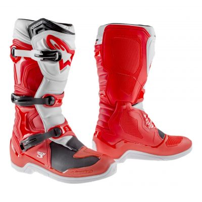 Bottes cross Alpinestars Tech 3 rouge/blanc