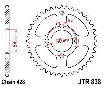 Couronne JT Sprockets Acier pas 428 45 dents - Pour Yamaha YBR 125 07-15