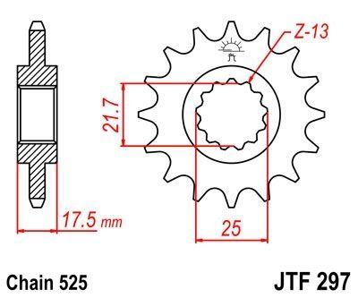 Pignon JT Sprockets Acier pas 525 14 dents - Pour Honda CB 500 S 98-03