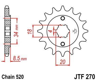 Pignon JT Sprockets Acier pas 520 13 dents - Pour Honda CA 125 Rebel 95-01