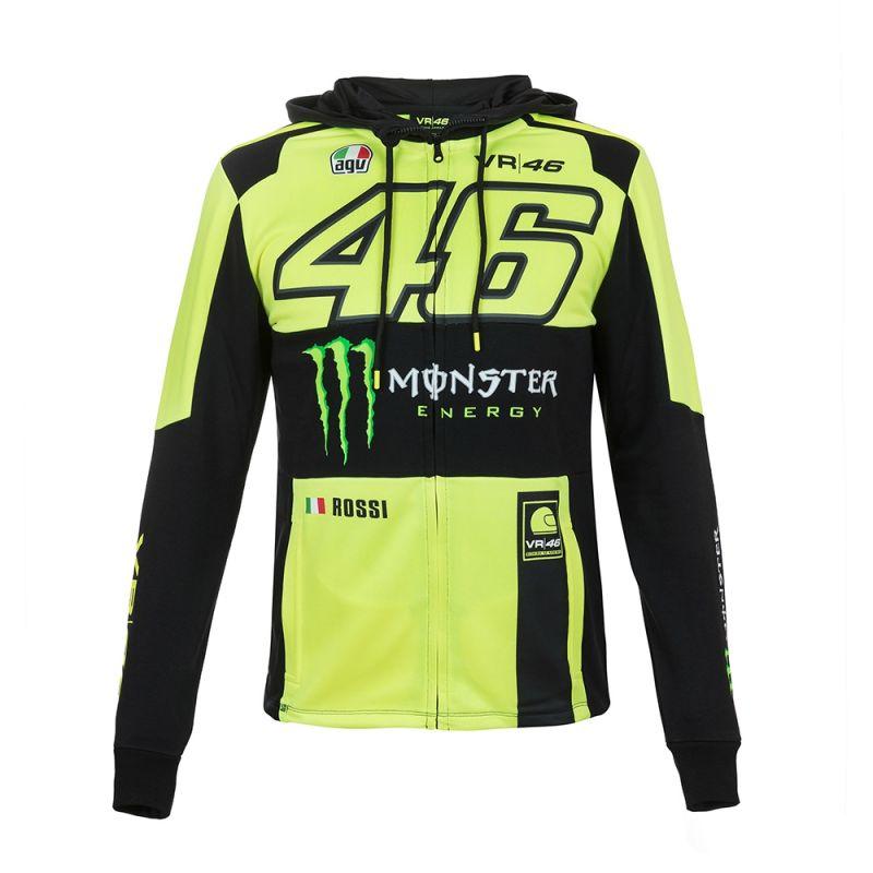 Sweat zip capuche VR46 Valentino Rossi Replica Monster jaune fluo 2018