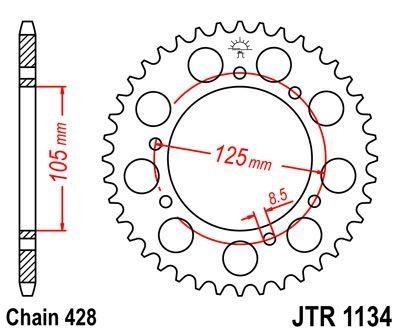 Couronne JT Sprockets Acier pas 428 50 dents - Pour Yamaha XT 125 R 05-11