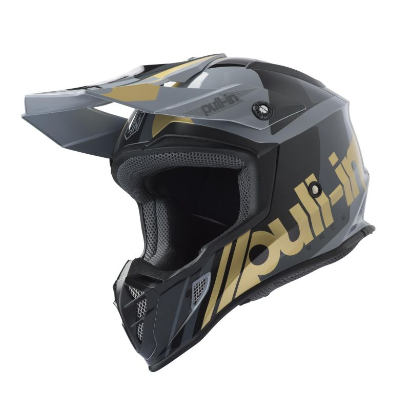Casque cross Pull-in Race gris/or