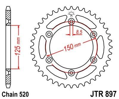Couronne JT Sprockets Acier pas 520 50 dents - Pour KTM SX 125 95-17