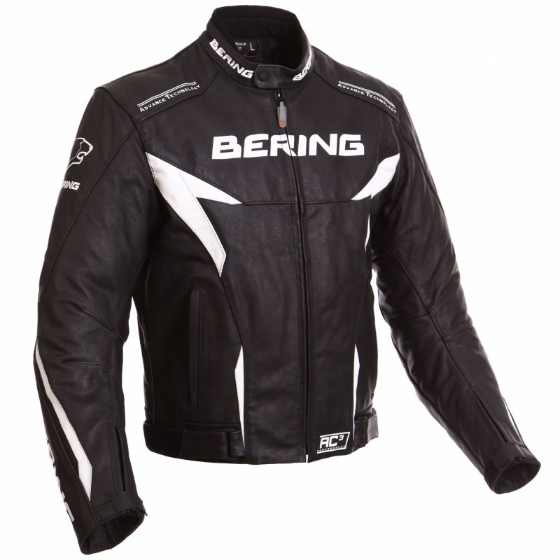 Blouson Bering FIZIO CUIR Noir/Blanc