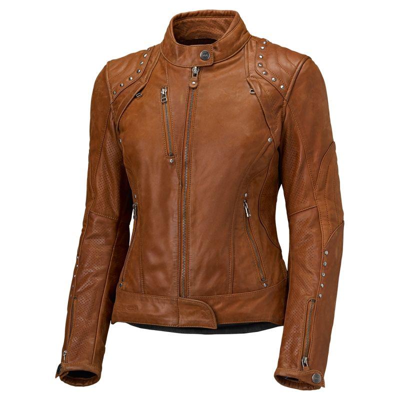 Veste femme en cuir cognac