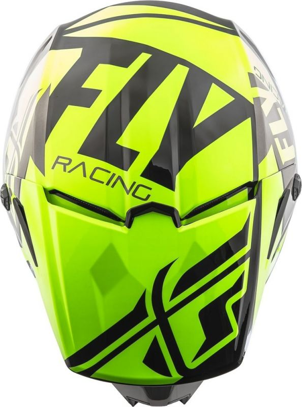 Casque cross Fly Racing Elite Guild gris/jaune fluo - 3