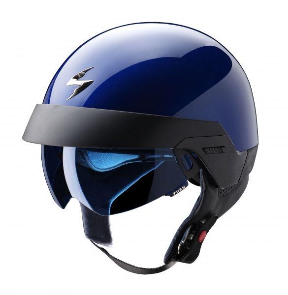 casque jet scorpion exo 100 bleu casques moto sur la b canerie. Black Bedroom Furniture Sets. Home Design Ideas