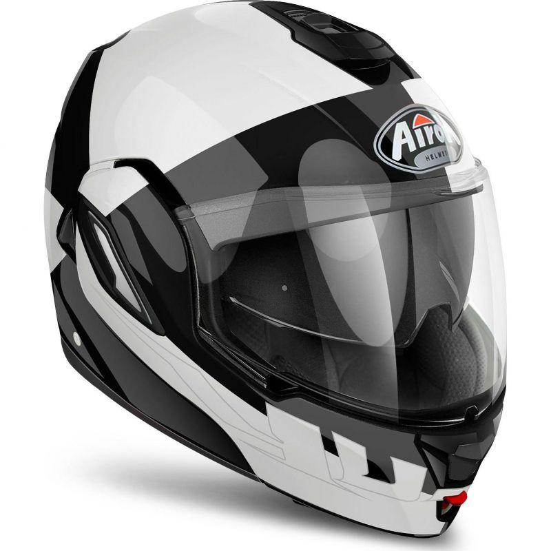 casque modulable airoh rev fusion blanc noir casques moto sur la b canerie. Black Bedroom Furniture Sets. Home Design Ideas