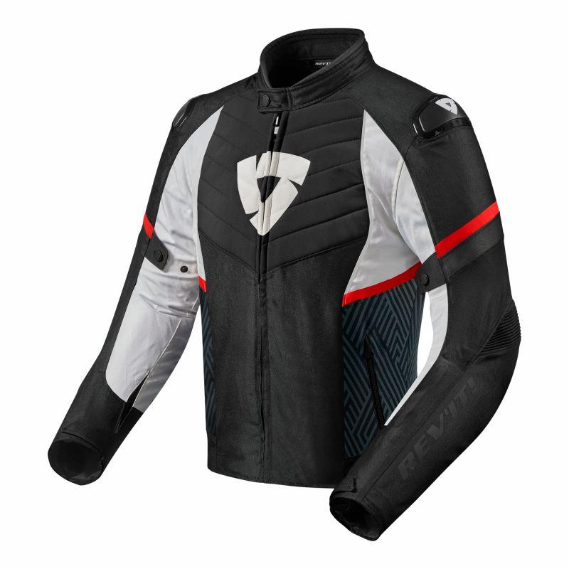 Blouson textile Rev'it Arc H2O noir/rouge