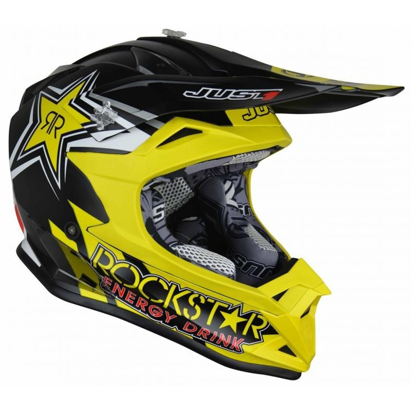 Casque cross Just1 J32 Pro Rockstar 2.0 noir / jaune - 1