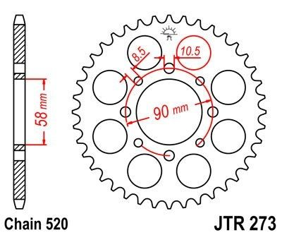 Couronne JT Sprockets Acier pas 520 41 dents - Pour KTM Duke 200 12-14