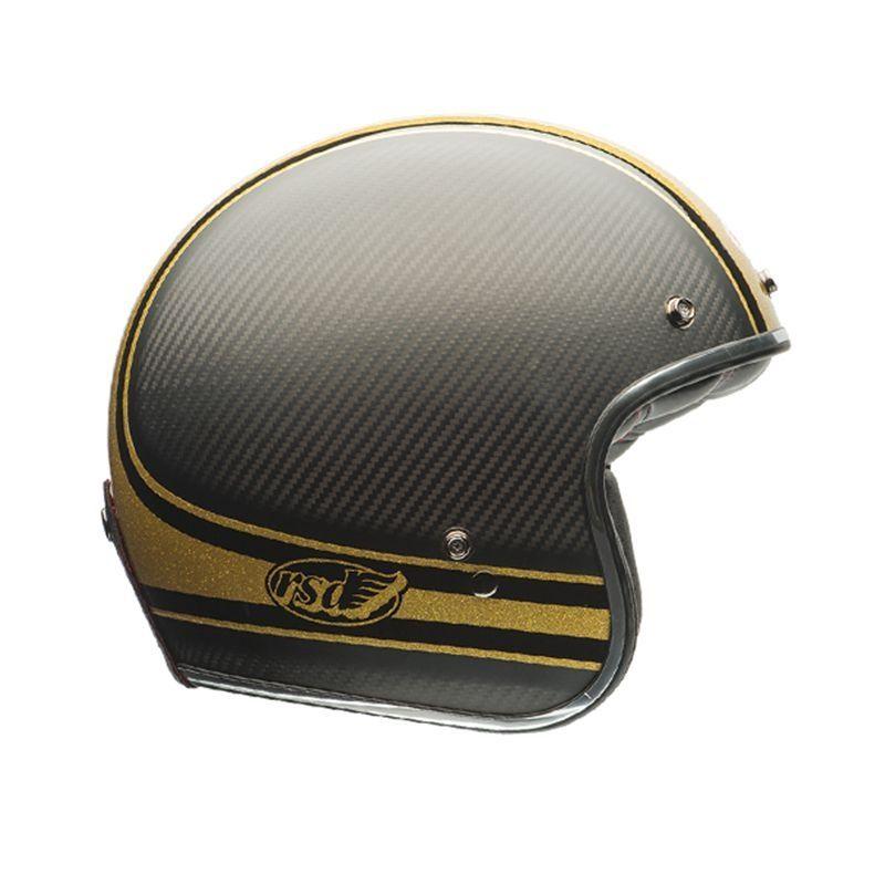 casque jet bell custom 500 rsd bomb carbone dor casques moto sur la b canerie. Black Bedroom Furniture Sets. Home Design Ideas
