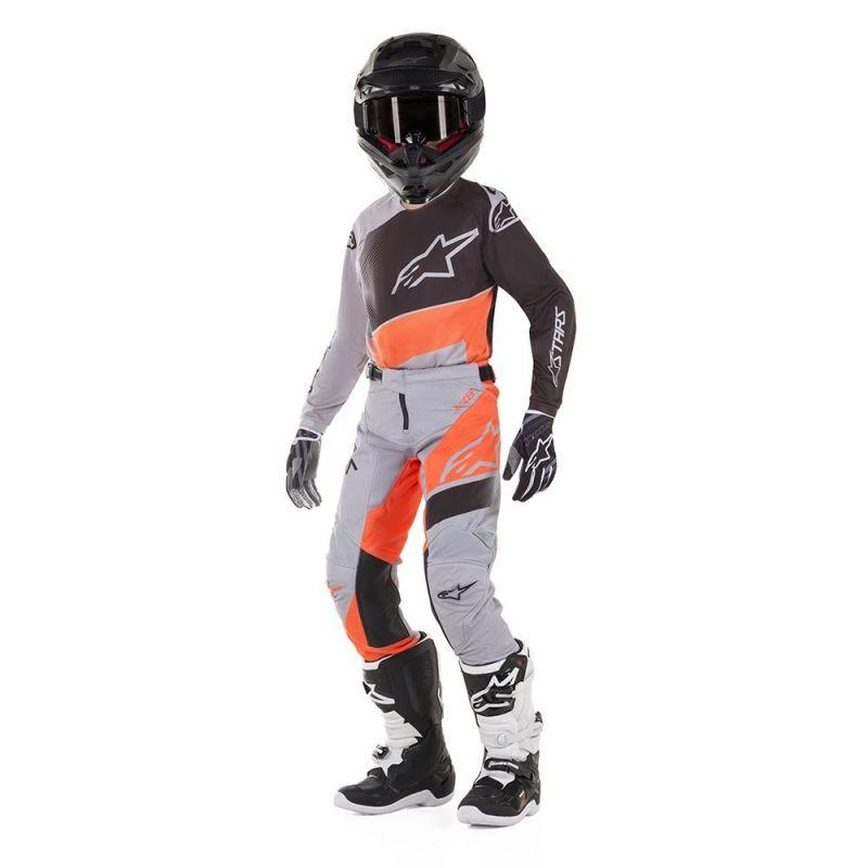 Maillot cross enfant Alpinestars Racer Supermatic gris clair/orange fluo/noir - 2