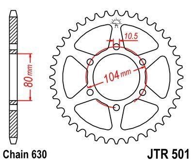 Couronne JT Sprockets Acier pas 630 33 dents - Pour Kawasaki GPZ750 82-87